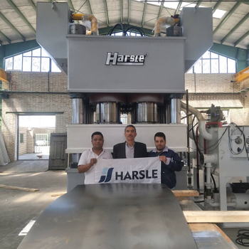 Iran steel door embossing machine, HARSLE metal door hydraulic press machine feedback