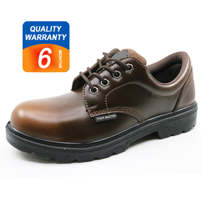 6004 Brown leather upper pu sole steel toe cap executive safety shoes