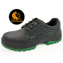 Black leather steel toe cap european safety shoes work