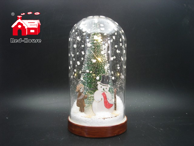 Christmas Decorative Snow Flake Glass Dome with Laser Cut Christmas Scene And Mini Led Street Light As Led Home Decoration From Christmas Decoration Supplies