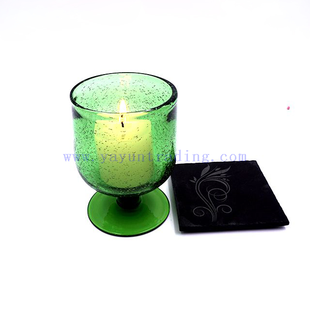 Yayun Luxury Short Stem Glass Hurricane Candle Jar/Tumbler/Cup Green Color