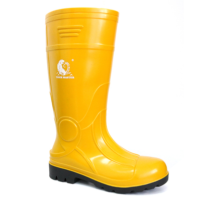 107-YB yellow steel toe cap glitter pvc safety rain gum boots