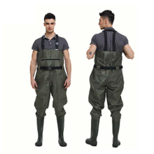 Front Zipper Pocket Men Fishing wader water proof nylon PVC adult chest wader