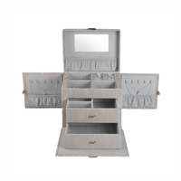 Custom Luxury Portable Multi-functional Leather Jewelry Box with Mirror