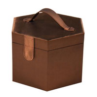 Brown Travel Luxury Leather Custom Jewelry Cosmetic Box