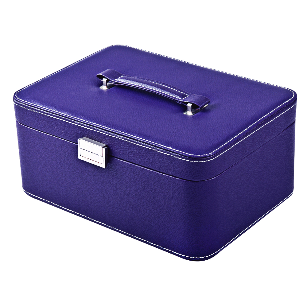 Wholesale Leather Jewelry Storage Fashion Lockable 2 Layers Makeup Organizer Choker Box