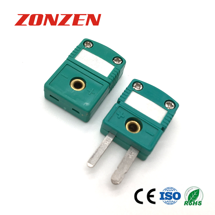 Miniature Size Thermocouple Connector Flat 2 Pin TC Connector
