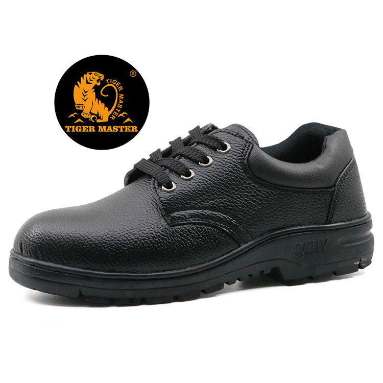 Black pu upper rubber sole cheap construction site safety shoes