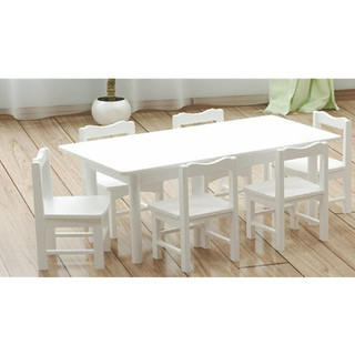 Preschool Children White Rectangle Wooden Table (19A2201)