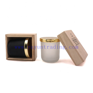Matte Black Frosted Heat Resistant Glass Candle Jars With Gold Metal Lids And Wooden Box