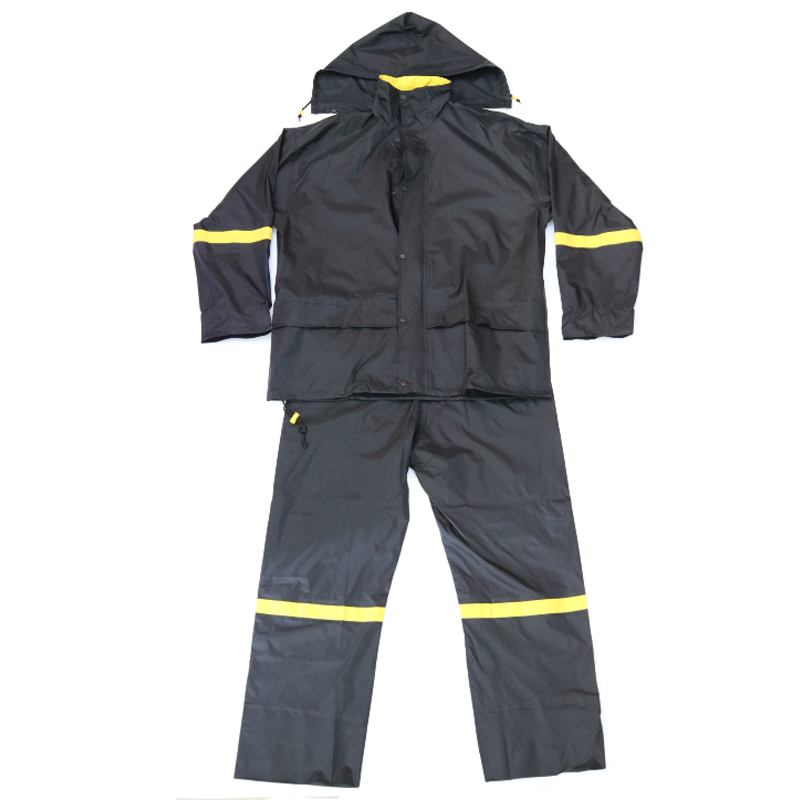 Black Nylon PU Coating Rain Wear High Visibility Reflective Men Water Proof Adult Rain Suits