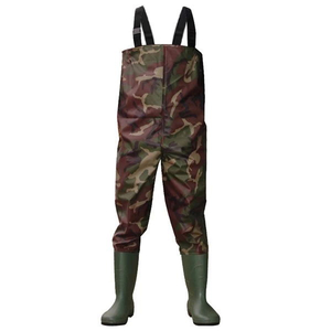 Camouflage Nylon PVC Water Proof Fishing Waders Non Slip Chest Waders with Pvc Rain Boots