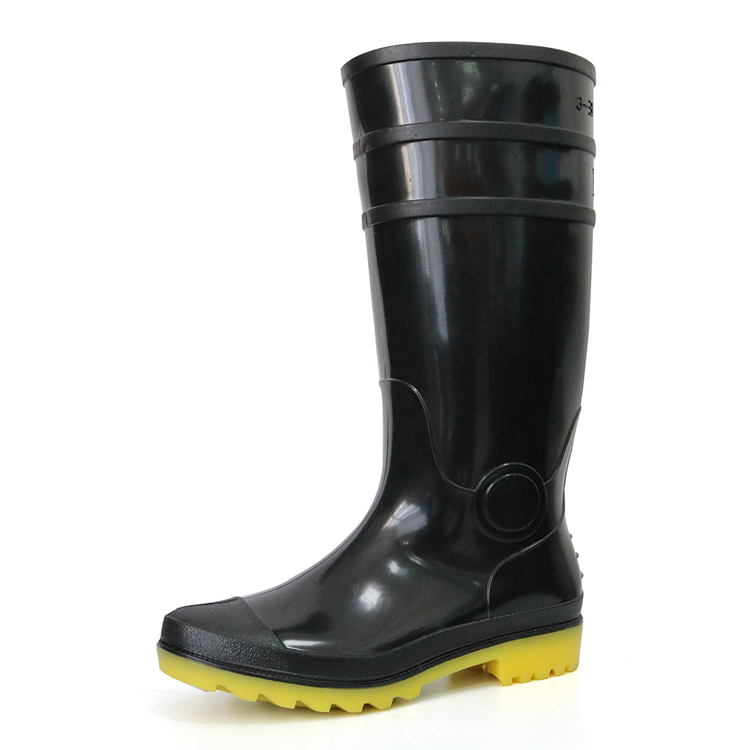 E6-BY lightweight non safety cheap black pvc glitter rain boot