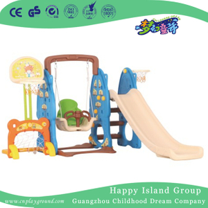 Indoor Children Plastic Blue Rabbit Small Slide Playground With Swing (ML-2014106)