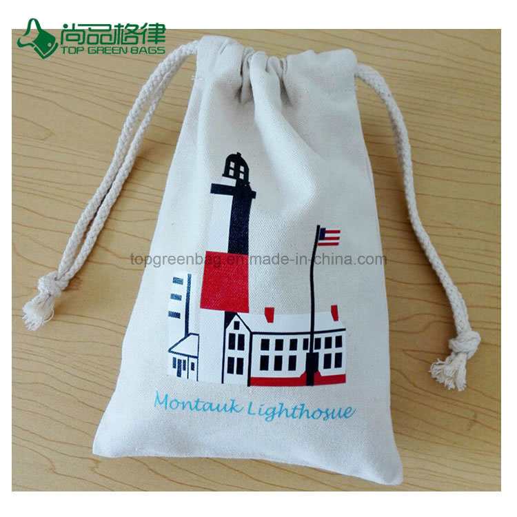 Cheap Customized Organic Cotton Drawstring Pouch Bag Gift String Bag