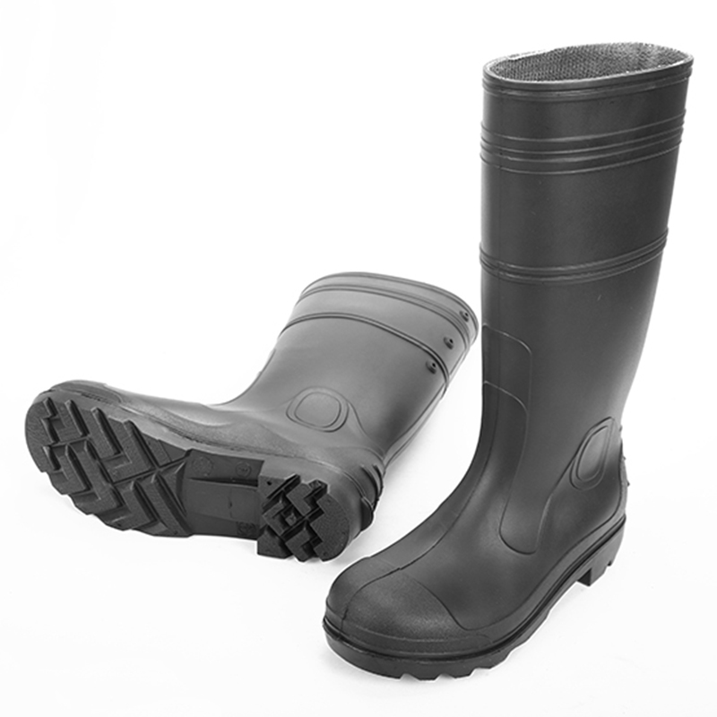 QH-001 black oil resistant men pvc safety rain boot for work