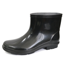 JW-105 Black waterproof non slip cheap ankle pvc shiny civil rain boot