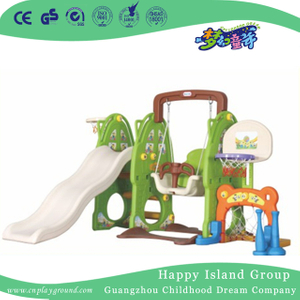 Kids Play Green Rabbit Plastic Small Slid Playground With Swing (ML-2014206)