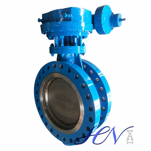 Gear Type Cast Steel Double Flanged Double Offset Butterfly Valve