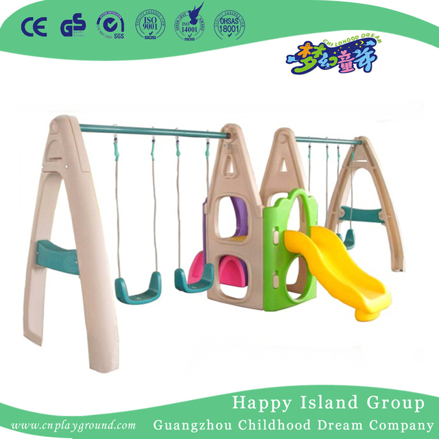 High Quality Kids Play Plastic Small Swing With Slide Playground (ML-2012703)