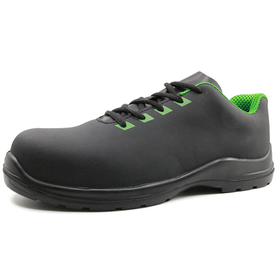 Black nubuck leather lightweight composite toe protective work shoes