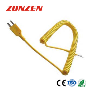 ANSI Color Coded K Type Coiled Cords Thermocouple With Molded Mini Plug