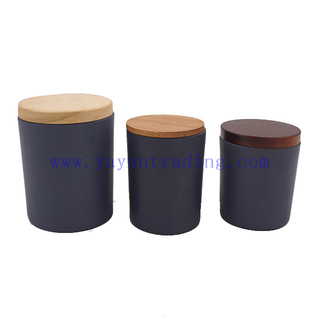 210ml 250ml 450ml Round Cylinder Custom Glass Candle Jars with Wooden Lid And Bamboo Lid