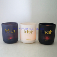 Gift & Craft Use And Recyclable Feature Custom Print Logo Glass Candle Holder Set