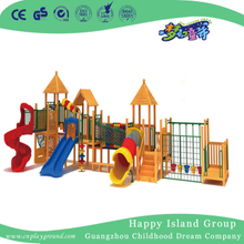 School Natural Wooden Outdoor Slide Playground (HF-17101)