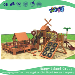 Outdoor Wooden Children Playhouse Playground With Climbing Equipment (1908501)