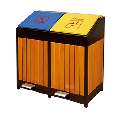 Outdoor waste can with plastic wood and pedal HW-49