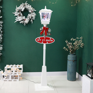 New Design Rotating Music Christmas Snowing Floor Lamp Post
