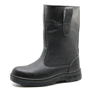 Cemented rubber sole leather steel toe anti static fur lining winter welding boots