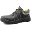 Black leather slip resistant mining work shoes with steel toe