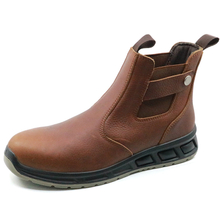PU injection leather steel toe fashionable no lace safety shoes for work
