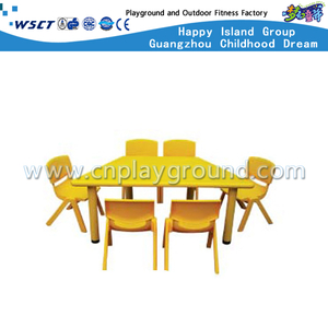 School Yellow Plastic Trapezoidal Table Furniture (M11-07505)