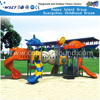 Cheap Animal Roof Children Galvanized Steel Playground with Slide Equipment(HA-05801)