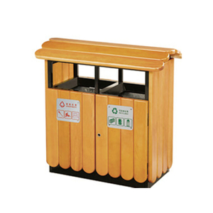 Public Environment Protection Double Wood Trash Can with Roof(HHK-15006)