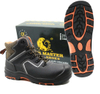 Slip resistant rubber sole industrial safety boots with steel toe