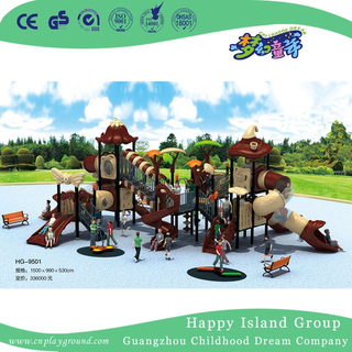 Outdoor New Brown Vegetable Roof Children Combination Slide Playground Equipment (HG-9501)