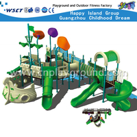 Cheap Large Green Children Pirate Ship Galvanized SteelPlayground with Slide(M11-02403)