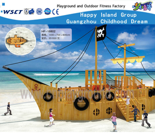 Outdoor Wooden Ship Adventure Playground with Slide (HF-16802)