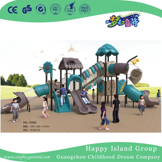 Outdoor Leaves Roof Tree House Galvanized Steel Playground Set with Children Slide (HG-10402)