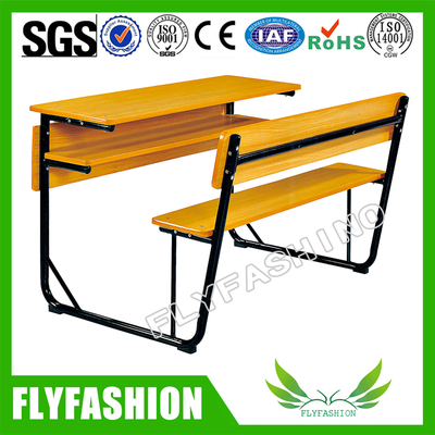Wooden Modern Furniture Classroom Student Double Desk with Bench (SF-42D)