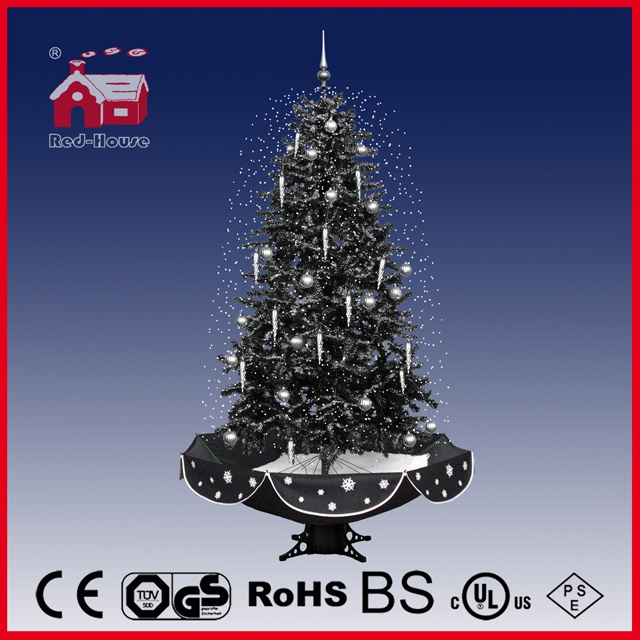 (40110U190-HS) Black Christmas Tree with Flying Snow LED Lights and Music