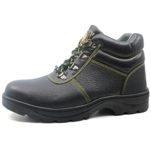 Black leather rubber sole construction safety shoes work