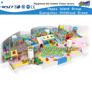 Soft Cartoon Indoor Playground With Slide Equipment For Sale (HD-8201)