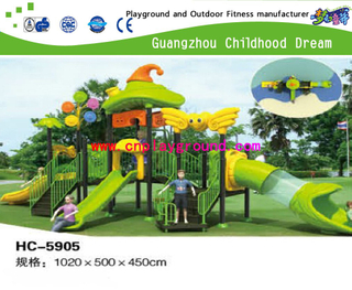 New Design Middle Size Children Cartoon Outdoor Vegetable Galvanized Steel Playground Set (HC-5905)