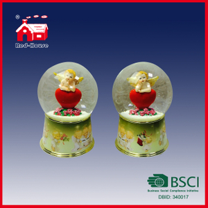 100mm Transparent Round Glass Ball on Resin Base Snow Water Globe Lovely Angel Red Heart Inside