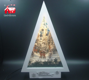 Christmas Decorative Tree Shape Musical Frame As Led Home Decoration with Snow Blowing Effect